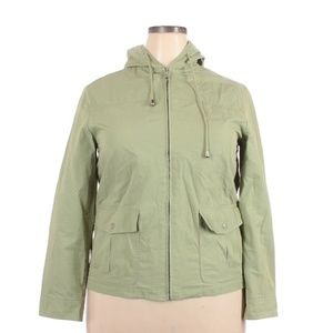 Alfred Dunner green zip up hooded jacket